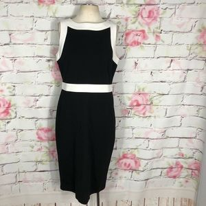 Talbots sleeveless contrast trim sheath dress
